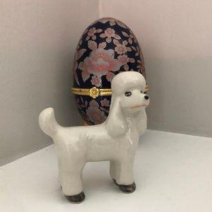 Adorable White Poodle Glass Figurine
